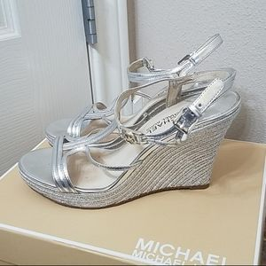 Silver Leather Mochael Kors Cicely Wedge Sandals